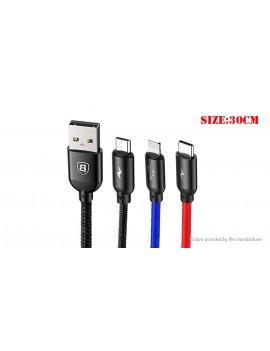 Authentic Baseus 3-in-1 USB-C/Micro-USB/8-pin Braided Data & Charging Cable (30cm)