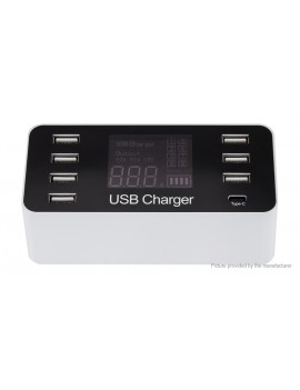 A9 LCD Display 8-Port USB Charger Power Adapter (EU)